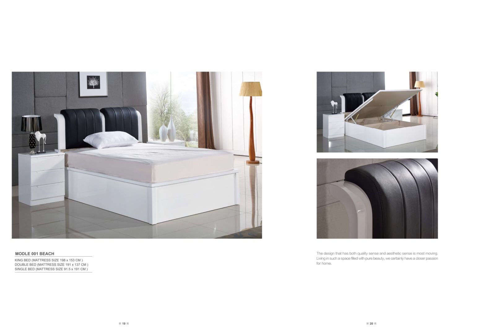 Rugby White with Black Leather Bed